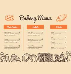bakery hand drawn restaurant menu template vector image vector image