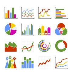 Business Graph and Diagram Icons Set vector image