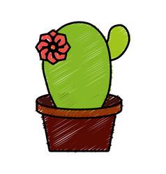 cactus in a pot icon vector image vector image
