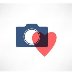 Camera icon I love photography vector image vector image