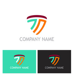 letter t abstract line logo vector image