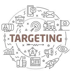 line flat circle targeting vector image vector image