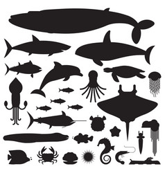 sea life and underwater animals icons vector image