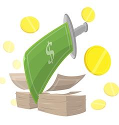 Sword Money Cut Finance vector image vector image