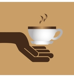 cartoon cupcake sweet with cup coffee hot icon vector image