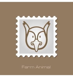 Pheasant stamp Animal head vector image