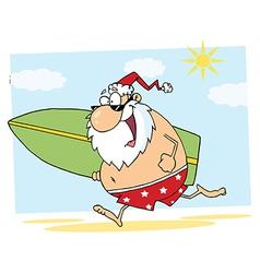 Santa Claus Surfer Mascot Cartoon Character vector image vector image
