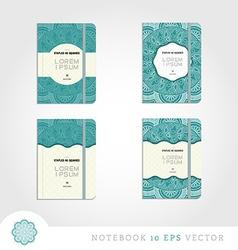 Set of notebooks with mandala background vector image vector image
