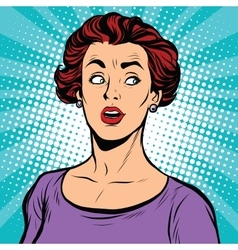 Surprised pop art woman looking sideways vector image