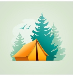 Tent in forest camping vector image