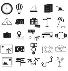 tourism set black icon on white vector image vector image