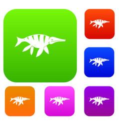 aquatic dinosaur set color collection vector image