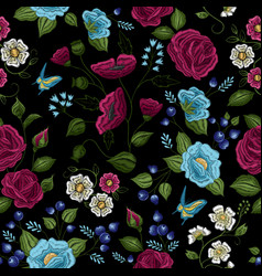floral embroidery seamless pattern vector image