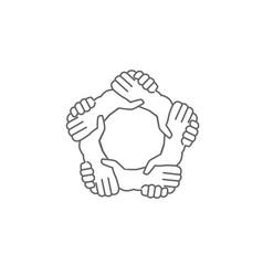 hands shaking hands a written in a pentagon shape vector image