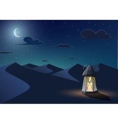 Luminous lantern stands in the desert vector image