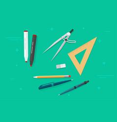 pen pencils eraser triangle rulers marker vector image vector image