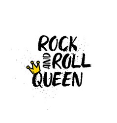 rock and roll queen lettering vector image vector image