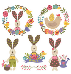 set happy easter design elements vector image vector image