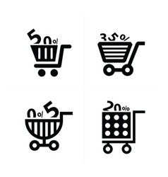 shopping cart icons and discount vector image