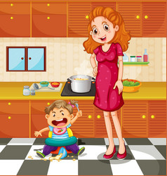 toddler and mother in the kitchen vector image vector image
