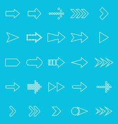 Arrow line icons on blue background vector image