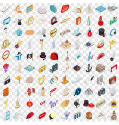 100 art icons set isometric 3d style vector