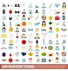 100 nursery icons set flat style vector