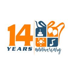14 year gift box ribbon anniversary vector image
