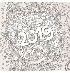 2019 hand drawn doodles contour line vector
