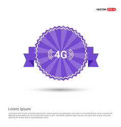 4g icon - purple ribbon banner vector image