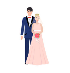 A man and a woman in beautiful outfits the bride vector