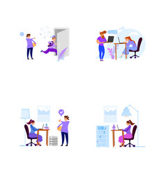 A set business scenes with tiny men and women vector