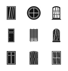 architectural window icon set simple style vector image