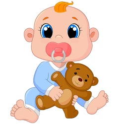 Baby Boy With Pacifiers and Toys vector
