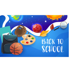 back to school education items and planets vector image