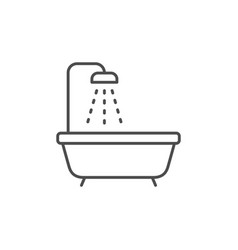 Bathtub and shower line outline icon vector