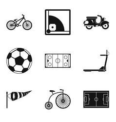 bicycle tour icons set simple style vector image