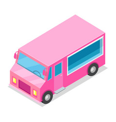 big streetfood pink truck isolated vector image