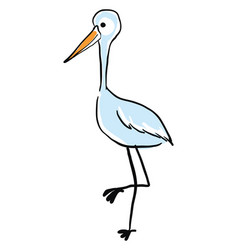 blue stork standing on white background vector image