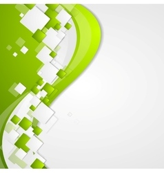 Bright green wavy tech abstract background vector
