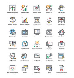 Bundle of web and seo flat icons vector