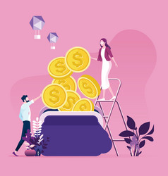 businessman and woman trying collect money vector image