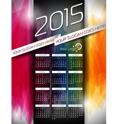 Calendar 2015 on abstract color background vector