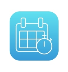 Calendar and stopwatch line icon vector image