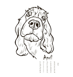 calendar for 2018 with portraits of dogs vector image