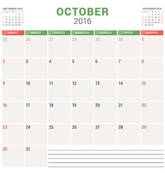 Calendar Planner 2016 Flat Design Template October vector