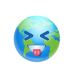 Cartoon earth face laugh showing tongue icon funny vector