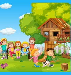 Children playing in park with a dog vector