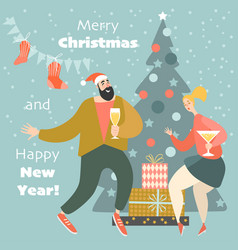 christmas card with dancing couple vector image