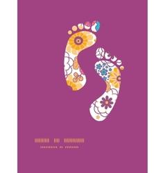 colorful oriental flowers footprints vector image